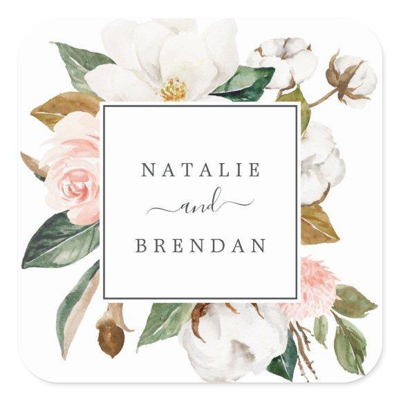 Elegant Magnolia | White Wedding Envelope Seals