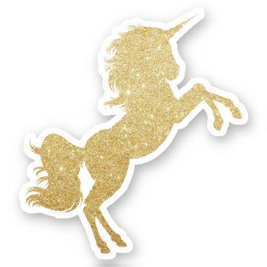 Elegant modern pretty gold glitter unicorn sticker