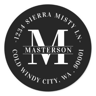 Elegant Monogram Black Circular Return Address Classic Round Sticker