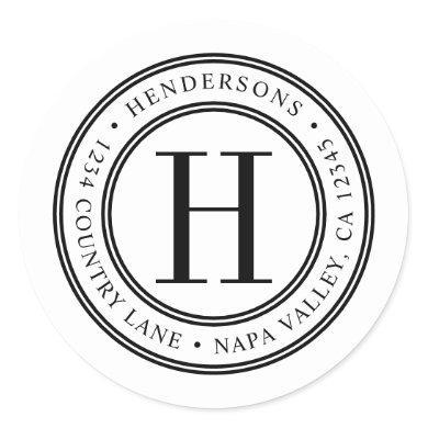 Elegant Monogram | Create Your Own Return Address Classic Round Sticker