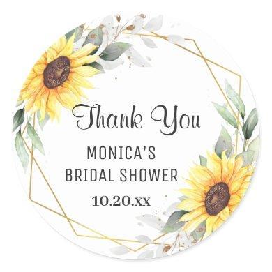 Elegant Sunflower Greenery Floral BRIDAL SHOWER Classic Round Sticker