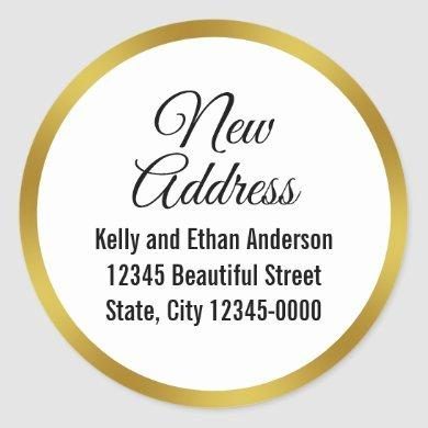 Elegant White and Faux Gold New Address Classic Round Sticker