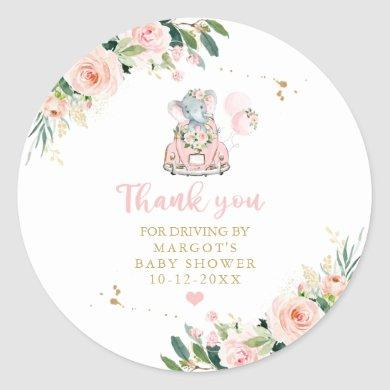 Elephant Drive By Baby Shower Pink Rose Classic Round Sticker