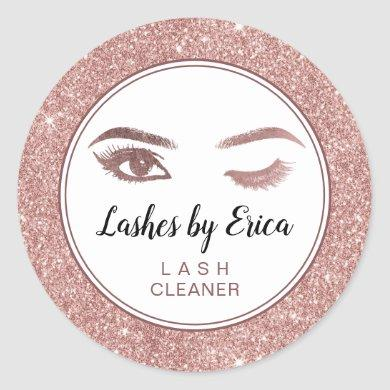 Eyelash Extensions Lash Cleaner Rose Gold Glitter Classic Round Sticker