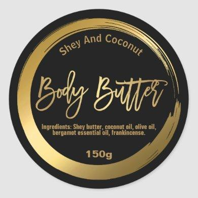 FAUX Gold Foil Shea Body Butter Circle Labels
