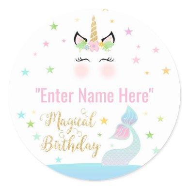 FAVOR STICKER   mermaid tail and unicorn birthday