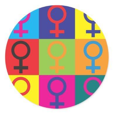 Feminism Pop Art Classic Round Sticker