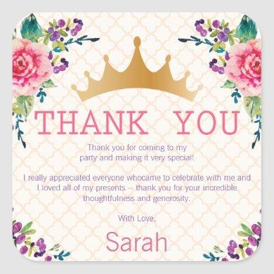 Floral Chic Birthday Thank you Square Sticker
