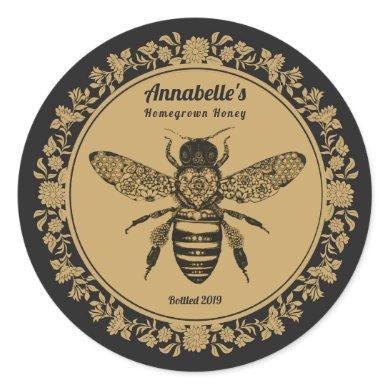 Floral Victorian Bee Honey Label