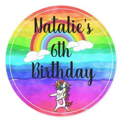 Floss Dance Unicorn Rainbow Birthday Classic Round Sticker