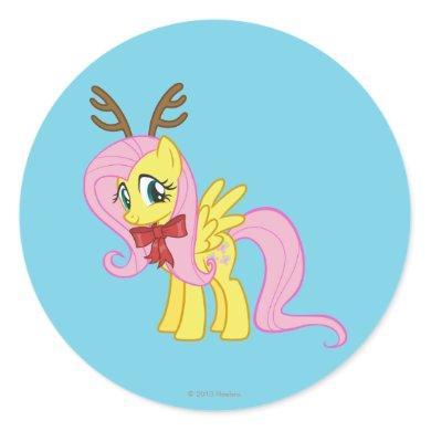 Fluttershy Reindeer Classic Round Sticker