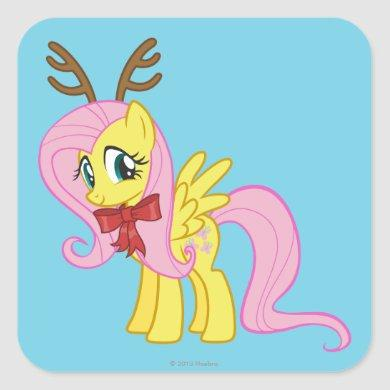 Fluttershy Reindeer Square Sticker