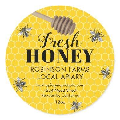 Fresh Honey Jar Labels   Honeybee
