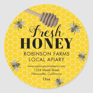 Fresh Honey Jar Labels | Honeybee