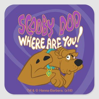 Frightened Scooby-Doo Square Sticker