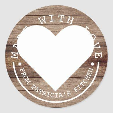 From The Kitchen Of - Made With Love Rustic Wood Classic Round Sticker