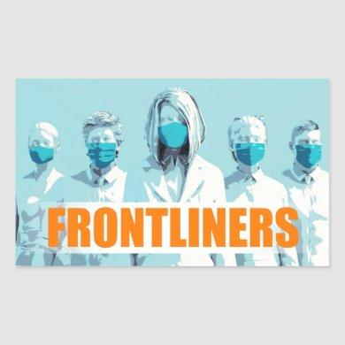 Frontliners Medical Staff Facing Coronavirus Rectangular Sticker