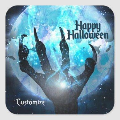 Full Moon Transformation Halloween Square Sticker