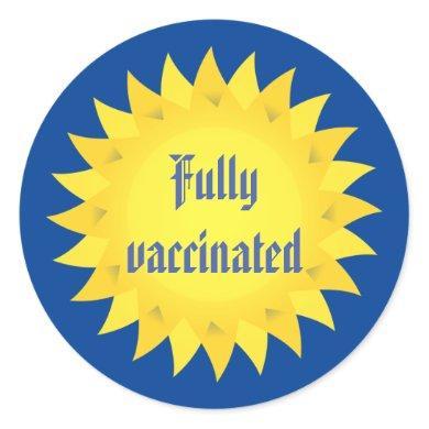 Fully Vaccinated Yellow Sun Classic Round Sticker