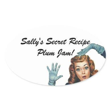 Fun Sticker Retro Lady Home Canning Secret Recipe