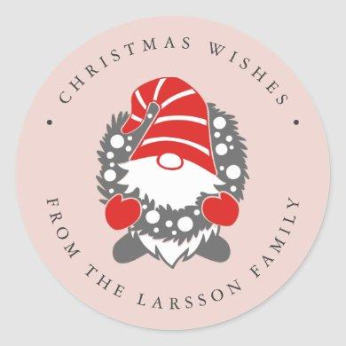 Funny Gnome with Garland Pink Festive Classic Round Sticker