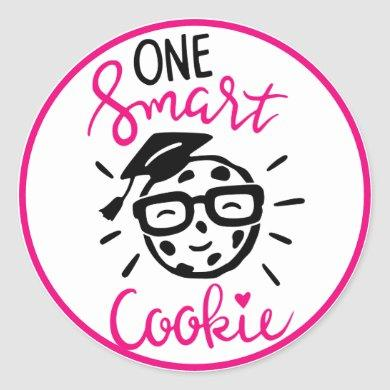 Funny ONE Smart Cookie Graduation pink Black Classic Round Sticker