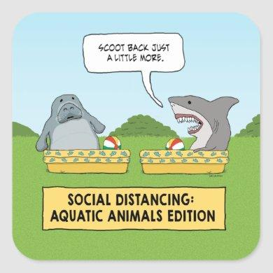 Funny Shark and Manatee Social Distancing Square Sticker