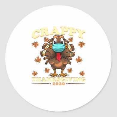 Funny Silly Turkey Face Wearing A Mask Thank Classic Round Sticker