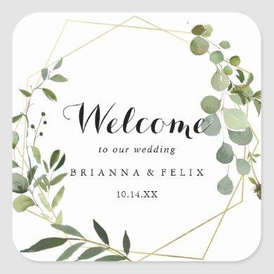 Geometric Gold Tropical Green Wedding Welcome Square Sticker
