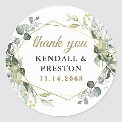 Geometric Greenery Elegant Gold Wedding Thank You Classic Round Sticker