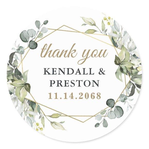 Geometric Greenery Elegant Gold Wedding Thank You Classic Round Sticker
