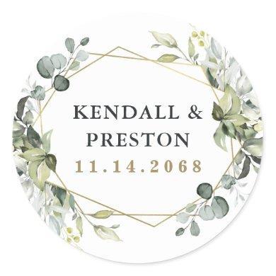 Geometric Greenery Modern Gold Succulent Wedding Classic Round Sticker