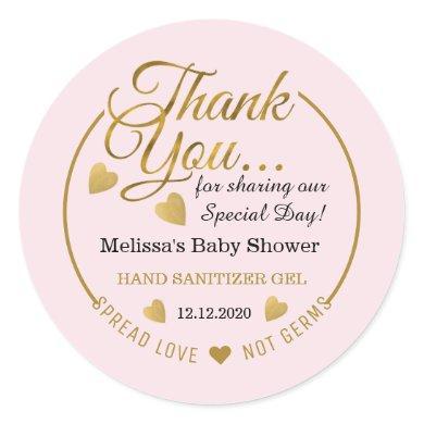 Girl Baby Shower Spread Love Sanitizer Favor Pink  Classic Round Sticker