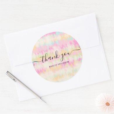 Girly pastel unicorn rainbow tie dye thank you classic round sticker