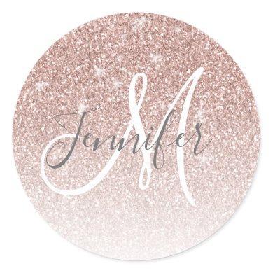 Girly Rose Gold Glitter Blush Monogram Name Classic Round Sticker