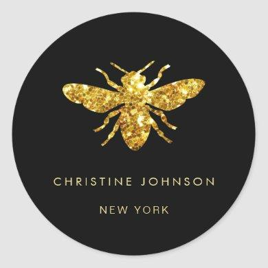 glitter bee logo on black classic round sticker