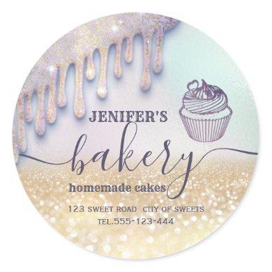 Glittery drips cupcake chef script bakery classic round sticker