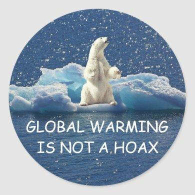 GLOBAL WARMING IS NOT A HOAX, Polar Bear on Ice Classic Round Sticker