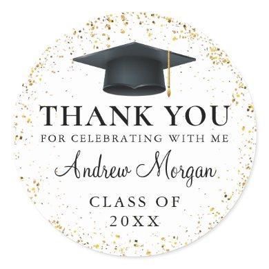 Gold confetti Graduation Thank You Classic Round Sticker