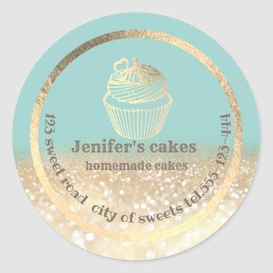 Gold glittery Homemade cakes and treats packaging Classic Round Sticker