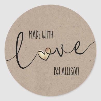 Gold Heart Script Typography Made With Love Classic Round Sticker