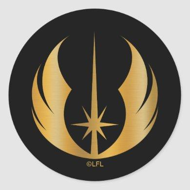 Gold Jedi Symbol Classic Round Sticker