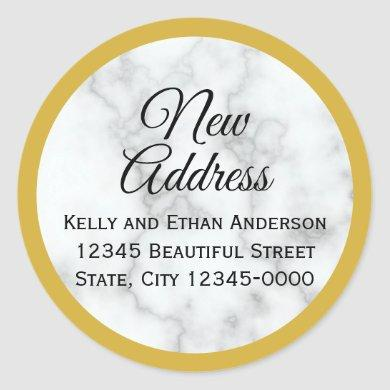 Gold Look and Faux White Marble New Address Classic Round Sticker