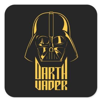Gold Reflect Darth Vader Name Graphic Square Sticker