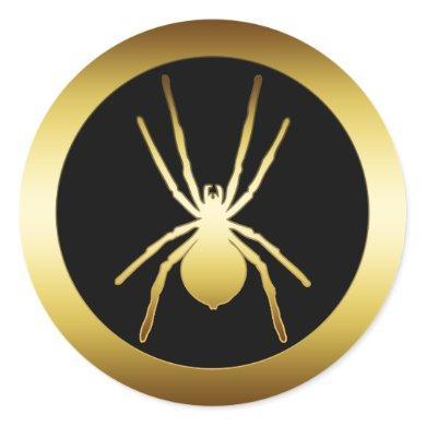 GOLD SPIDER CLASSIC ROUND STICKER