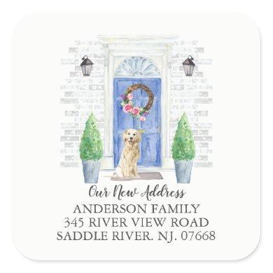 Golden Retriever Blue Door New Address Label