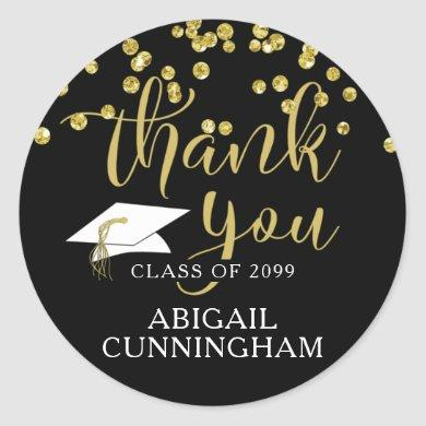 Graduation Black & Gold Confetti Script THANK YOU Classic Round Sticker