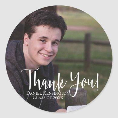 Graduation Elegant Typography Thank You Classic Round Sticker