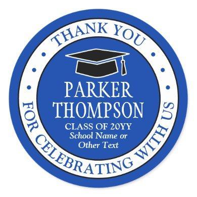 Graduation Thank You Elegant Royal Blue and White Classic Round Sticker