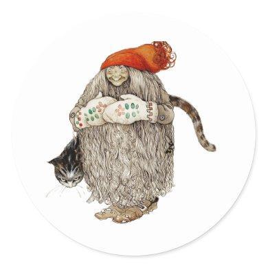 Grandma Christmas Tomten with Gray Cat Classic Round Sticker
